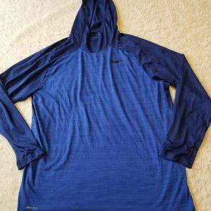Nike Dri-Fit Hooded Blue Long Sleeve Shirt sz XXL